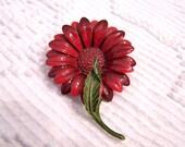 SALE Autumn Red Enamel Flower Brooch