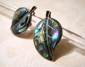 Vintage Sterling Silver Abalone Leaf Earrings