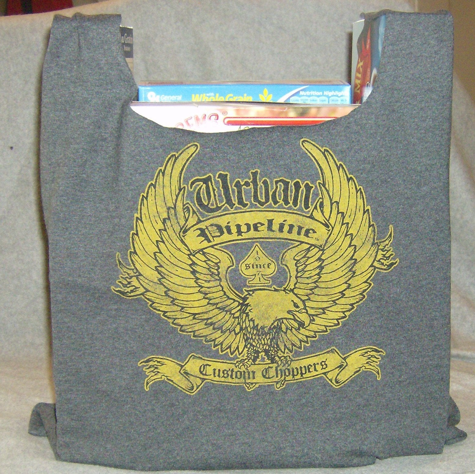 Recycled cotton t shirt tote grocery bag urban pipeline custom for Personalized t shirt bags