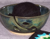 Ceramic Yarn Bowl with  Leaves  in   Emerald Green and Sapphire   knit  or crochet