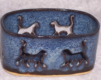 Cat Candle Holder - Denim Blue Pottery - Cats - Office organizer - Tool holder - Wheel Thrown Container - Stoneware Mail holder