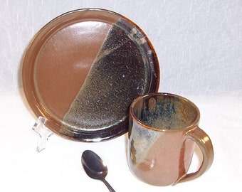 Ceramic Mug and Plate - Lunch set - Breakfast set - Earthy Brown - Wheel Thrown Mug - Handmade Stoneware Mug -  Pottery Mug and Plate