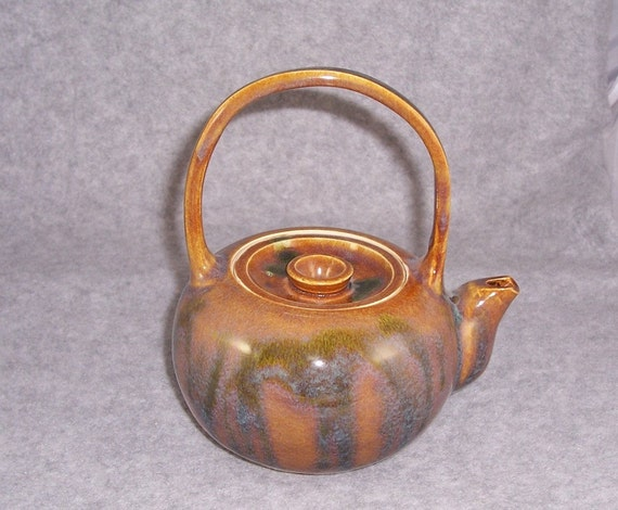 Ceramic Teapot  2 cup Tea For Two Tea Pot  Amber Blue and Green Wheel Thrown  Stoneware Ceramics   Pottery