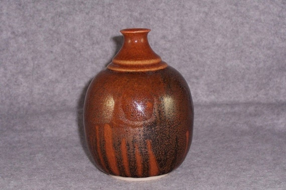 Handmade Ceramic Bud Vase Brown and Black Wheel Thrown Stoneware Ceramics Pottery