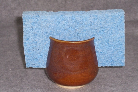 Handmade Ceramic Sponge holder  Amber Brown and Opal Blues Wheel Thrown  Stoneware Ceramics   Pottery