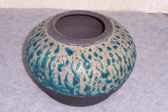 Raku Vase    Blue Beaded Glaze  One of a Kind Fine Art Vessel Wheel Thrown Stoneware Ceramics Pottery