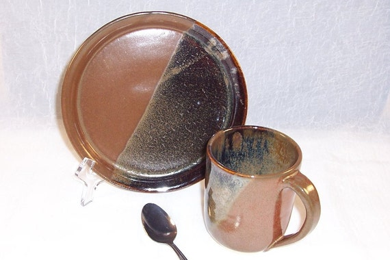 Ceramic Mug and Plate - Lunch set - Breakfast set - Earthy Brown - Wheel Thrown Mug - Handmade Stoneware Mug -  Pottery Mug and Plate