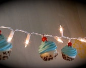 "Fake Cupcakes Retro ""Hollywood Glam"" Collection String of Lights 12 Legs Original Design 10 Turquoise Leopard Cupcakes First On Etsy"