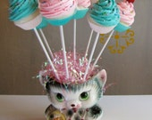 "Fake Cupcake Lollipops ""Sweet and Whimsy"" Collection 8 Mini Pink/Aqua Lollipops Great Party Decor 12 Legs Original Concept Can Customize"