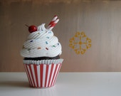 Fake Cupcake Retro Inspired Ice Cream Social Collection Candy Cane Red and White Stripe Edition TOO CUTE 12 Legs Original Design