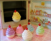 """Fake Cupcake """"Marie Antoinette Let Them Eat Cake Magnet Collection"""" Your Choice Two Mini Cupcake Magnets Fab Fridge, Office, Bakery Decor"""