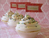 Fake Cupcakes Set 3 White Iced/Sprinkles/Golden Vanilla Standard Size For Displaying Cupcake Toppers or Decor Toppers NOT Included