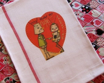 Retro Robots Vintage Valentine Image Dish Towel Super Idea for Valentines Day Gifts for Teachers, Friends, Family and Your Sweetheart