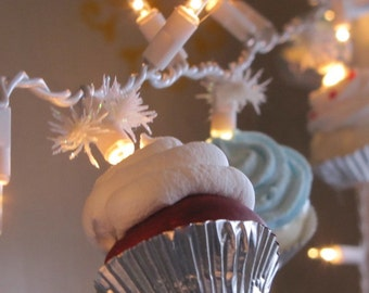 Fake Cupcake String of Lights 12 Legs Original Concept Design 10 Mini Cupcakes Fab For Christmas Trees, Kitchen, Bakeries First on Etsy