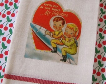 Vintage Valentine Girl and Boy Astronauts Launching Into Space Youre Out of This World