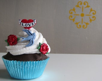 Fake Cupcake Faux Cupcake Retro Rockabilly Tattoo Cupcake Entitled All Tatted Up Great Valentines Day Gift Idea for your Friends With Tatts