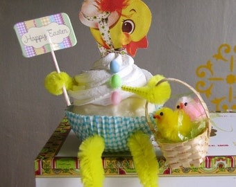 Fake Cupcake Easter Baby Chick Cupcake Collectable Vintage Image of Baby Chick Adorable Easter Basket w/ Baby Chicks Original 12 Legs Design