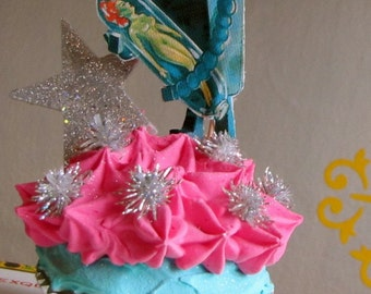 Fake Cupcake Retro Sci Fi Cupcake Collectable with Vintage Image of Robot and Green Pin Up Girl Original 12 Legs Design