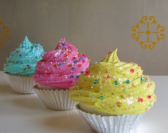 Fake Cupcake Whimsy Collection Lemon Frosting Czechoslovakian Glass Sprinkles Large Standard Size Cupcake Can be Photo /Business Card Holder