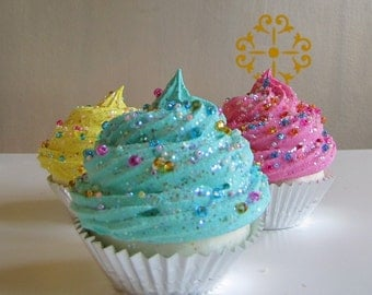 Fake Cupcake Whimsy Collection Turquoise Frosting Czechoslovakian Glass Sprinkles Large Standard Size Can be Photo/Business Card Holder