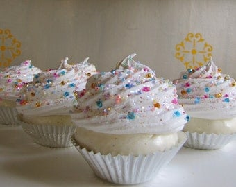 Fake Cupcake Whimsy Collection Creamy White Frosting with Czechoslovakian Glass Sprinkles One Large Standard Size Cupcake