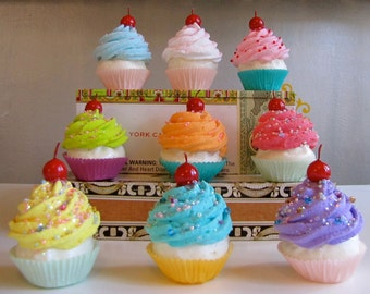 Fake Cupcakes Standard Cupcakes Set 6 Your Choice Summer Lovin'  Collection Great Photography Session Props Can be Made Into Ornaments
