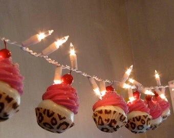 """Fake Cupcakes """"Wild Side"""" Collection String of Lights 12 Legs Original Concept 10 Hot Pink Iced Leopard Cupcake Liners First on Etsy"""