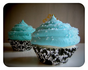 Fake Cupcake Little Turquoise Box Insp Damask Collection Standard Size Cupcake Perfect Photo Prop, Home Decor, Birthday Gift, Wedding Decor