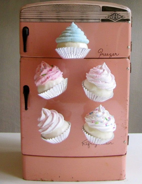"""Fake Cupcake Magnets Sugar Plum Fairy Collection Set of 6 Approx. 3 to 3 1/2"""" Tall Great for Fridge, Office, Bakery, Little Girls Room, Etc"""