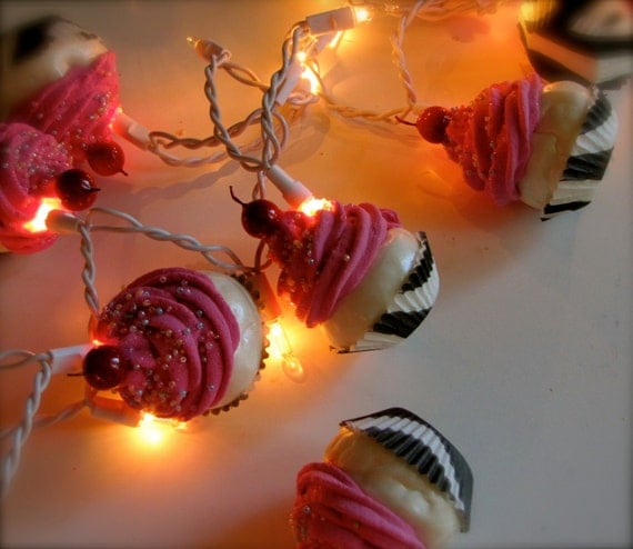 "Fake Cupcake ""Wild Side"" Collection String of Lights 12 Legs Original Concept  10 Hot Pink Iced Black/White Zebra Liners First on Etsy"