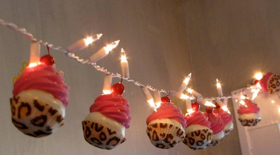 "Fake Cupcakes ""Wild Side"" Collection String of Lights 12 Legs Original Concept 10 Hot Pink Iced Leopard Cupcake Liners First on Etsy"