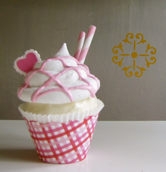 Fake Cupcake Strawberry Sundae I HEART Sundae Cupcakes Valentine's Day Collection Can be Photo Holder or Business Card Holder