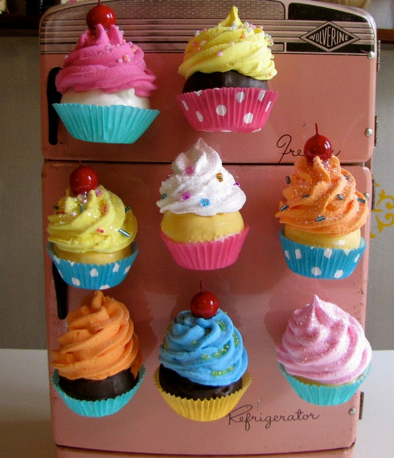 Fake Cupcake Swirly Twirly Magnets Your Choice of Three Mini Cupcake Magnets Great for Fridge, Office, Bakery, Little Girls Room, Etc