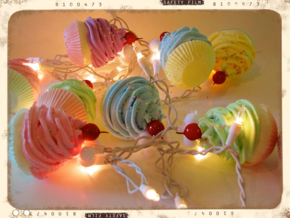 "Fake Cupcake ""Marie Antoinette"" String Lights 12 Legs Original Concept/Design 10 Pastel Minis Fab Kitchen, Birthday Decor First On Etsy"