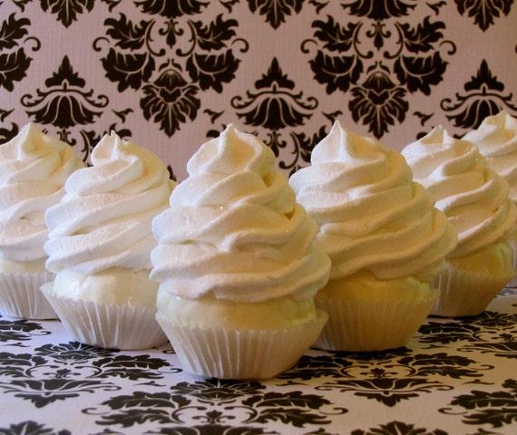 "Fake Cupcake Set of 6 Mini White Cupcakes ""Simply Sweet"" Collection Fabulous Wedding Decor, Photo Props,"