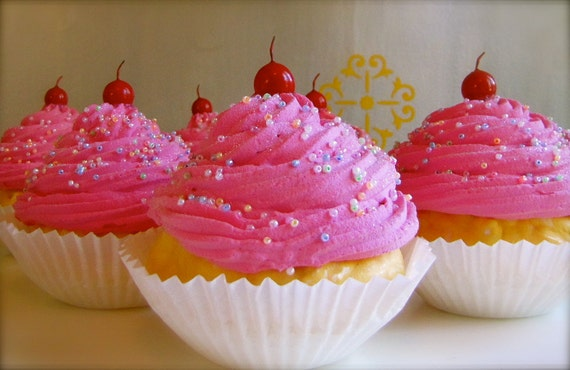 """Fake Cupcakes 2 JUMBO Hot Pink Cupcakes """"Cupcake Land Collection"""" Aprox 5 1/4"""" h Perfect Photography Props, Business Card Holders, etc"""