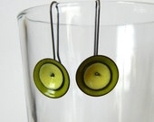 green and yellow mod earrings