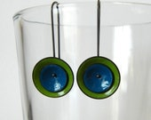 green and blue mod earrings