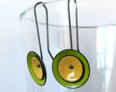 bitter green and mellow yellow mod earrings