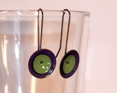 purple and green mod earrings