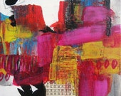 """Small 6x6 original abstract urban style contemporary art """"Games We Play 3"""""""