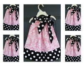 Custom Made Pillowcase Dress-0-8 years old-Michael Miller Fabric-Pink Damask in Black and With Polka Dot Trim