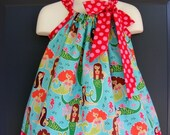 sale now 15 percent off Custom Made Pillowcase Dress-0-8 years old-Michael Miller Fabric-Sea Beauties in Turquoise and ta dot berry