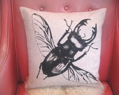 Linen Stag Beetle Pillow