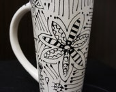 Hand Painted Flower Land Tall Mug Detailed Flowers in Black and White, Coffe mug, Hot Tea