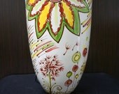 SALE Large Cone Vase with Whimsical Signature patterns. Red Green and Yellow. Flowers and dandelion puffs.