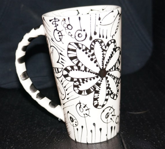 Hand Painted Coffee Mug, Tall Mug, Detailed Flowers in Black and White
