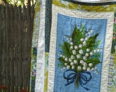 Handmade Lily of the Valley Quilt made with a Vintage Tea Towel