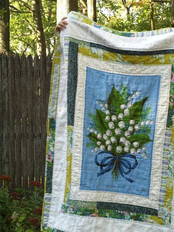 Handmade Lily Of The Valley Quilt Made With A Vintage Tea