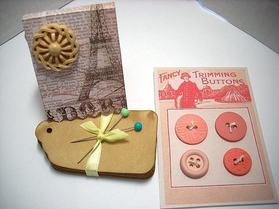 Mini Embellishment Kit Buttons Stick Pins Tea Dyed Tags Scrapbooking